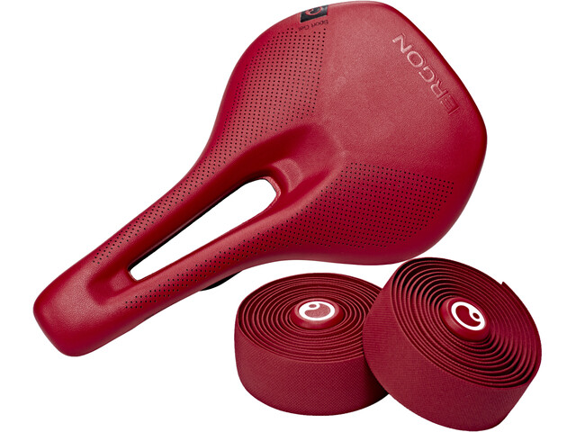 Ergon SM Sport Gel Saddle including handlebar tape Women berry